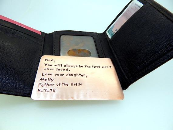 Wallet Insert Card , Copper Hand Stamped , 7th Anniversary , Husband Gift , Boyfriend Gift,  , Anniversary gift for man Art, Boyfriend Gift