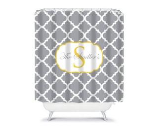 Personalized Shower Curtain, Monogrammed Bath Curtain, Quatrefoil Bathroom Decor, Design your Own, Home Decor, Monogram Bath Decor
