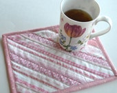 Upcycled Pink coasters, Quilted mug rug, selvage placemats, eco friendly pink snack mat, quilted mug mat