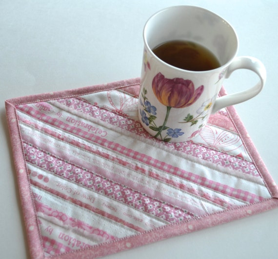 Upcycled Pink Coasters Quilted Mug Rug Selvage Placemats