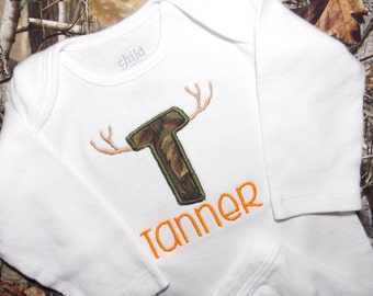 Personalized bodysuit for boy - camo letter with horns - hunting bodysuit - camo baby - new baby gift -  made to order