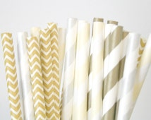 Paper Straws . Champagne Gold Silver Chevron . new years eve / bridal shower decorations / mason jar buffet table / wedding party decor