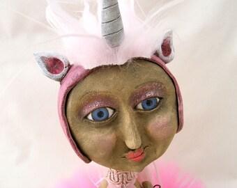 Unicorn and Rainbow - Mixed Media Art Doll Sculpture - OOAK