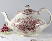 Crown Ducal Bristol Pink Transferware Teapot Tea Pot Made in England 11740