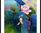 Acrylic Painting GICLEE Print Of Original Acrylic Painting SILK Painting Fine Art Print Koi Fish Painting
