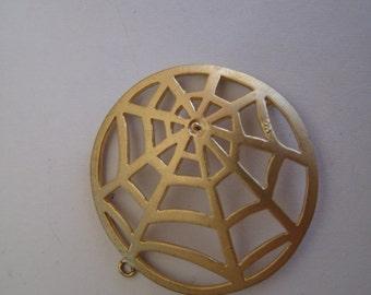 1 Matte Gold Spider Web Pendant