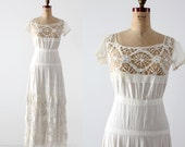 FREE SHIP  antique white dress, Victorian underpinnings
