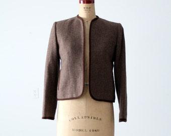 FREE SHIP  1970s Evan Picone wool jacket, women's open blazer