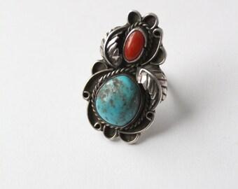 70s turquoise stone ring, southwest boho jewelry
