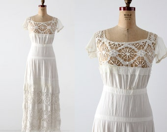 antique white dress, Victorian underpinnings