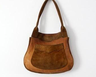 vintage 70s suede leather shoulder bag, hippie purse