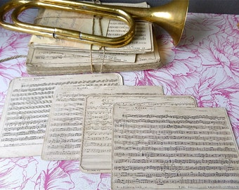 Original  French Sheet music band cards set of 4