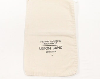 Vintage Bank Deposit Bag - Union Bank California Ivory Cotton Canvas Money Bag with Black Print - 1977