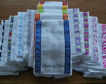 5 Baby Burp Cloths Decorated with Ribbon, Adorable, Super Absorbent Prefolded  Decorated Diapers