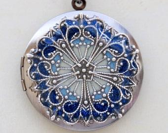 SALE Locket, Silver Locket,Blue Flower Locket,Something Blue,filigree locket necklace,photo locket ,Wedding Necklace,bridesmaid necklace