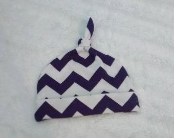 Purple Chevron Knit Hat