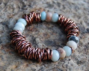 Faceted Amazonite & Copper Bracelet