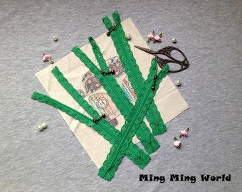 5 PCS Green Lace Zippers Supplies Trim, Fabric Crafts Alterations Supplies Handmade Fabric Supplies(Z15)
