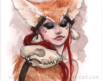 Lady red Fennec Fox ears watercolor art print Carla Wyzgala carlations