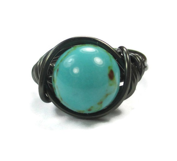 Turquoise Cocktail Ring, 10mm Boho Gemstone Ring, Customized Jewelry