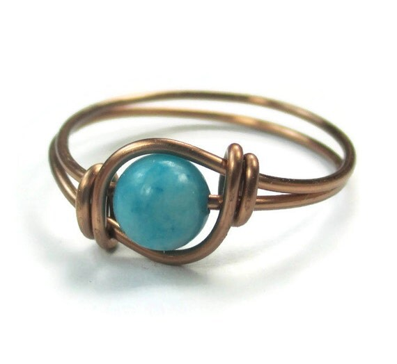 Boho Chic Ring Turquoise Jasper Custom Size Wire Wrapped Jewelry