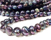 Black Pearl 10 to 11 mm Large Hole Freshwater Pearl Nugget Beads - Peacock 2.2 mm hole Full Strand (ET1082P65)