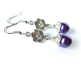 Purple Pearl and Flower Dangle Earrings