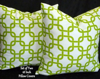 Decorative Throw Pillows, Accent Pillows, Pillow Covers, Home Decor, Cushion Covers - Set of Two 18 Inch -  Lime Green and White
