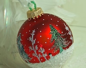 Christmas Ornament Hand Painted, Cardinals, Snowman, Snowy Evergreen Trees N Aspens in a Wintry Snow Scene, Glass Ornament, Rich Red