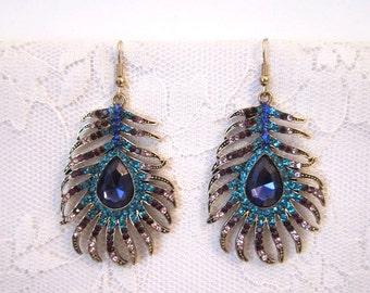Sapphire feather rhinestone earrings evening formal boho Blue sapphire Bridesmaid Jewelry Wedding jewelry teardrop pear boho hippie gold