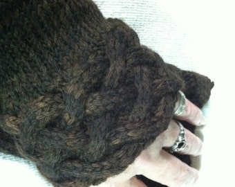 Brown Braided Cabled Knit Wrist Cuffs Alpaca Merino with Vintage Buttons