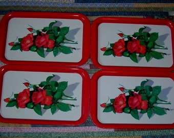 Vintage TV Type Trays-Red Roses-4