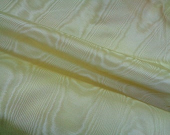 """48"""" Wide Vintage Rayon Broderie Moire Lemon Yellow Drapery Upholstery Fabric Home Decorator Fabric Yardage ST EL"""