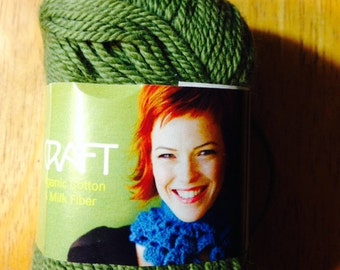 SALE   2 Skeins SWTC Vickie Howell Craft Yarn Cotton and Milk Fiber in Olive GREEN