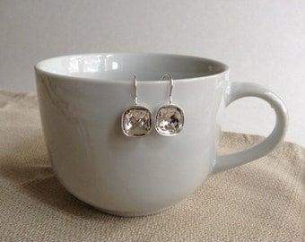 Cushion Cut Clear Swarovski Earrings, Silver-plated brass