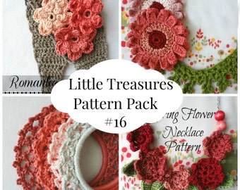 Crochet PDF Pattern Discount Pack #16 - 4 PDF Patterns,crochet stacked bracelets,gerbera flower necklace,flower headband,flower neacklace
