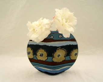 Haystacks in Blue Fields fishbowl fabric vase gray blue brown stripes