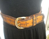 Vintage Braided Tooled Brown Leather Hippie Belt