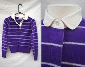 Purple Vintage Sweater with Collar