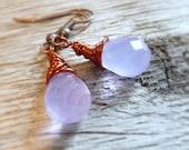 Lavender Glass Briolette Earrings, Wire Wrapped Briolettes, Milky Glass Beads, Copper Earrings, Copper Jewelry, Purple Earrings