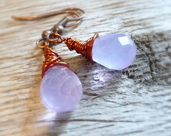Lavender Glass Briolette Earrings, Wire Wrapped Briolettes, Milky Glass Beads, Copper Earrings, Copper Jewelry, Purple Earrings
