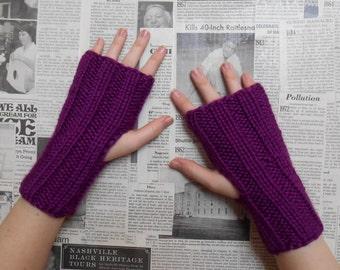 Simply Ribbed Handwarmers - Purple