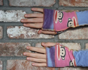 Eco Friendly Fingerless gloves, arm warmers, wrist warmers, texting gloves, upcycled t shirts