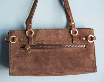 Brown Suede Purse, Small Suede Purse, Wilsons Purse, Wisons Suede Purse, Brown Handbag, Leather Handbag