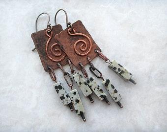 Chic Rustic Earrings, Copper Earrings, Earthy Earrings, Handmade, OOAK Earrings, Beadwork, Copper Jewlery