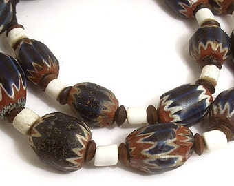 Chevron Venetian Trade Beads Necklace Seven Layer African 57748 SALE WAS 7699