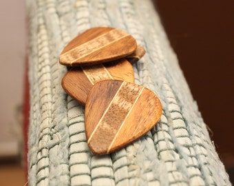 4 Wood guitar picks set Koa , Mango & Maple hand made ukulele