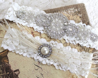 Gatsby Ostrich Feather Beaded Rhinestone Bridal Ivory Garter Set. Crystal Applique Stretch Lace Wedding Garter Set. GATSBY LOVE