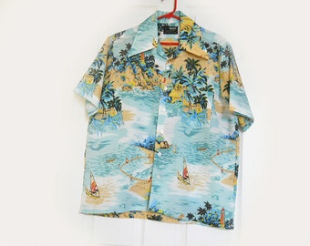 Men's Vintage Hawaiian Shirt by VanCort - 1960s Tropical Aloha Shirt - M