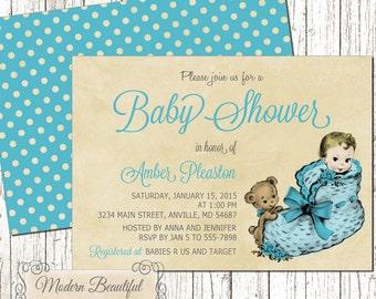 Baby Boy Vintage Baby Shower invitation, blue vintage baby shower invitation, shower invitation, baby shower, balloon baby shower invite